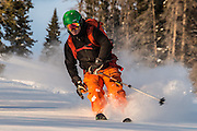 Diamond Peaks Ski Patrol member Owen Richard skis in Colorado State Forest State Park near Cameron Pass, January 11, 2013.