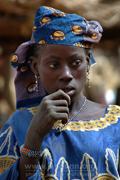BURKINA FASO, Gorom-Gorom, 2007. This Bella woman has spices for sale at Gorom-Gorom's Thursday market, which serves the whole region.