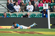 Twickenham, Surrey United Kingdom. Argentinas, Joaquin RIERA, l&quot;youches down in the corner&quot; , during the Pool B gaem, Scotland vs Argentina at the  &quot;2017 HSBC London Rugby Sevens&quot;,  Saturday 20/05/2017 RFU. Twickenham Stadium, England    <br /> <br /> [Mandatory Credit Peter SPURRIER/Intersport Images]