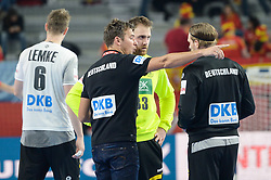 Christian Prokop, head coach of Germany  with players during handball match between National teams of Germany and Spain on Day 7 in Main Round of Men's EHF EURO 2018, on January 24, 2018 in Arena Varazdin, Varazdin, Croatia. Photo by Mario Horvat / Sportida