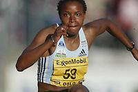 Track and Field, 28. june 2002, Golden League - Bislett Games, Oslo, Norway.  Linda Ferga, France, 100 m h.