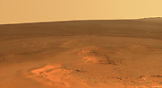 This mosaic of images shows the windswept vista northward (left) to northeastward (right) from the location where NASA's Mars Exploration Rover Opportunity is spending its fifth Martian winter, an outcrop informally named 'Greeley Haven.'