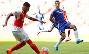 Cesar Azpilicueta prepares for the launched ball during the FA Community Shield match between Chelsea and Arsenal at Wembley Stadium, London, England on 2 August 2015. Photo by Michael Hulf.