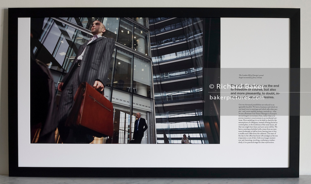 Arriving for work beneath atrium of an auditing company's London headquarters.<br /> <br /> A limited edition (5 of 6) Lambda digital framed print created for the Werk Nu (Work Now) exhibition at the Z33 Gallery in Hasselt, Belgium and including specially selected text by Alain de Botton from his 'The Pleasures and Sorrows of Work' book (Hamish Hamilton, 2009). <br /> <br /> The photograph is the copyright Richard Baker. The text is the copyright Alain de Botton.<br /> <br /> For print sales enquiries email: richard(at)bakerpictures.com