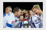 Victory celebration with the fans. Finland - Faroe Islands. Helsinki, September 7, 2015.
