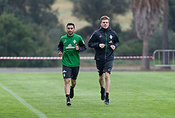 11.01.2014, Trainingsplatz, Jerez de la Frontera, ESP, 1. FBL, SV Werder Bremen, Trainingslager, im Bild Mehmet Ekici (SV Werder Bremen #10) bei einer Laufeinheit mit Sven Plagge (Physiotherapeut SV Werder Bremen) // Mehmet Ekici (SV Werder Bremen #10) bei einer Laufeinheit mit Sven Plagge (Physiotherapeut SV Werder Bremen) during Trainingsession of German Bundesliga Club SV Werder Bremen at Trainingsplatz in Jerez de la Frontera, Spain on 2014/01/11. EXPA Pictures © 2014, PhotoCredit: EXPA/ Andreas Gumz<br /> <br /> *****ATTENTION - OUT of GER*****