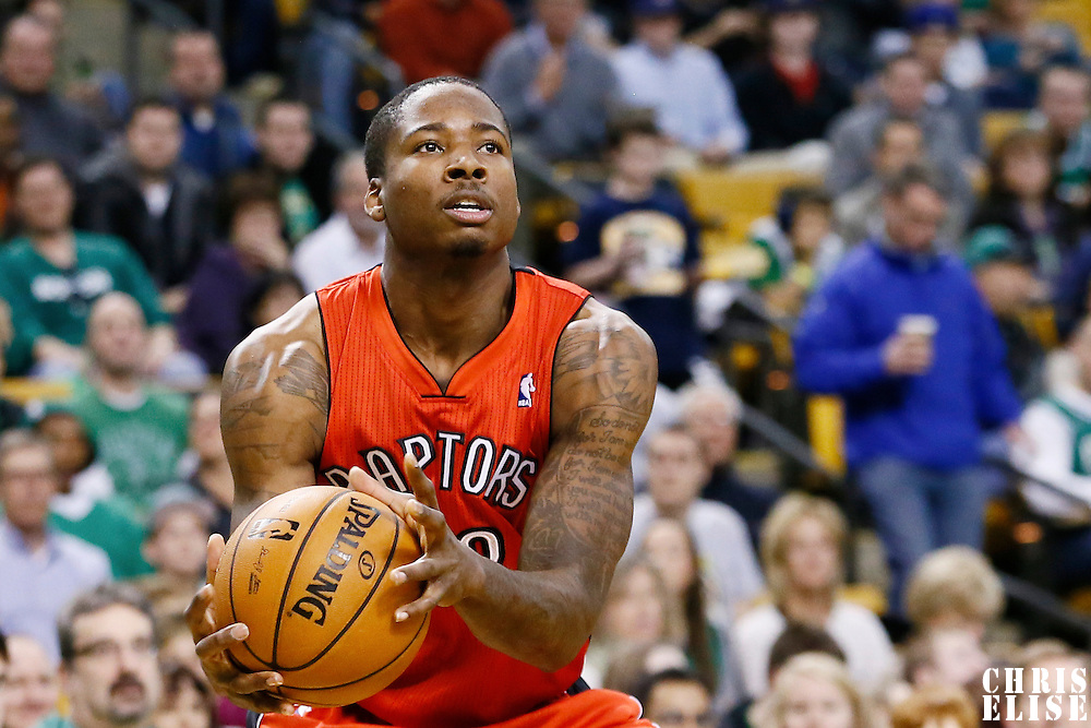 17 November 2012: Toronto Raptors power forward Ed Davis (32) eyes the basket during the Boston Celtics 107-89 victory over the Toronto Raptors at the TD Garden, Boston, Massachusetts, USA.