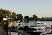 Henley on Thames, early morning Bucks side looking over the moorings towards Henley Reach. River Thames at Henley 07/10/2006.  Photo, Peter Spurrier/Intersport-images].
