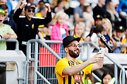 GOTHENBURG, SWEDEN - APRIL 14: Artis Sean Banan performs ahead of the Allsvenskan match between BK Hacken and Dalkurd FF at Bravida Arena on April 14, 2018 in Gothenburg, Sweden. Photo by Nils Petter Nilsson/Ombrello ***BETALBILD***