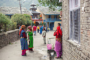 Local people dressed in traditional clothes chatting outside the temple of Lord Raghunath. Kullu Dussehra is the Dussehra festival observed in the month of October in Himachal Pradesh state in northern India. It is celebrated in the Dhalpur maidan in the Kullu valley. Dussehra at Kullu commences on the tenth day of the rising moon, i.e. on 'Vijay Dashmi' day itself and continues for seven days. Its history dates back to the 17th century when local King Jagat Singh installed an idol of Raghunath on his throne as a mark of penance. After this, god Raghunath was declared as the ruling deity of the Valley.