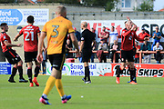Kevin Ellison of Morecambe can't believe he didn't get a penalty awarded for hand ball during the EFL Sky Bet League 2 match between Morecambe and Newport County at the Globe Arena, Morecambe, England on 16 September 2017. Photo by Mick Haynes.