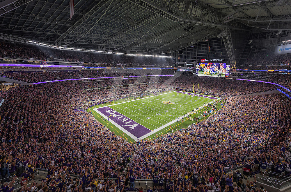 Minnesota Vikings vs. Green Bay Packers on September 18, 2016 at U.S. Bank Stadium in Minneapolis, Minnesota.  This was the inaugural game at U.S. Bank Stadium.  First Vikings touchdown ever scored at U.S. Bank Stadium.  Photo by Ben Krause/Minnesota Vikings