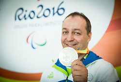 Francek Gorazd Tirsek - Nani of Slovenia posing with a silver medal One day after placed second in Final of R4 - Mixed 10m Air Rifle Standing SH2 on day 4 during the Rio 2016 Summer Paralympics Games on September 11, 2016 in Olympic Shooting Centre, Rio de Janeiro, Brazil. Photo by Vid Ponikvar / Sportida