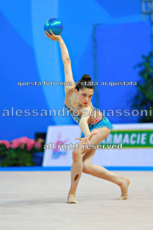 """Baldassarri Milena during ball routine at the International Tournament of rhythmic gymnastics """"Città di Pesaro"""", 02 April, 2016. Milena is an Italian individualistic gymnast, born on October 16, 2001 in Ravenna.<br /> This tournament dedicated to the youngest athletes is at the same time of the World Cup."""