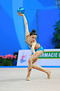 "Baldassarri Milena during ball routine at the International Tournament of rhythmic gymnastics ""Città di Pesaro"", 02 April, 2016. Milena is an Italian individualistic gymnast, born on October 16, 2001 in Ravenna.<br />