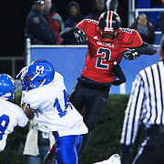 Middletown's Isiah Mitchell (9) comes up with an interception as he gets between the ball and intended receiver William Penn Chigozirim Amachi (2) in the first quarter of the DIAA State Championship football game between William Penn and Middletown Saturday, Nov. 29 2014, at Delaware Stadium in Newark Delaware.