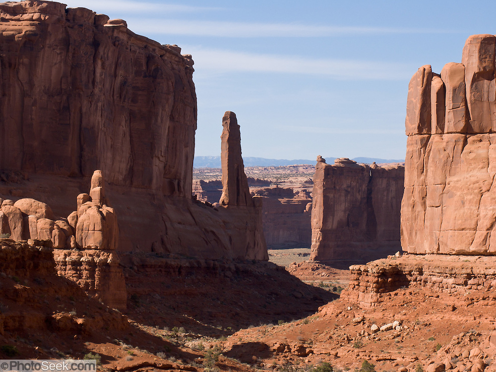 Entrada Sandstone erodes into towers and buttes in Arches National Park, Utah, USA.