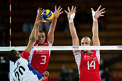 13.09.2014, Centennial Hall, Breslau, POL, FIVB WM, Kuba vs Bulgarien, 2. Runde, Gruppe F, im Bild Osmany Santiago Uriarte Mestre cuba #20 Andrey Zhekov bulgaria #3 Teodor Todorov bulgaria #14 // Osmany Santiago Uriarte Mestre cuba #20 Andrey Zhekov bulgaria #3 Teodor Todorov bulgaria #14 during the FIVB Volleyball Men's World Championships 2nd Round Pool F Match beween Cuba and Bulgaria at the Centennial Hall in Breslau, Poland on 2014/09/13. EXPA Pictures © 2014, PhotoCredit: EXPA/ Newspix/ Sebastian Borowski<br /> <br /> *****ATTENTION - for AUT, SLO, CRO, SRB, BIH, MAZ, TUR, SUI, SWE only*****