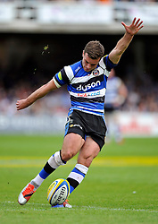 George Ford of Bath Rugby kicks for the posts - Photo mandatory by-line: Patrick Khachfe/JMP - Mobile: 07966 386802 23/05/2015 - SPORT - RUGBY UNION - Bath - The Recreation Ground - Bath Rugby v Leicester Tigers - Aviva Premiership Semi-Final