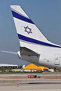 Israel, Ben-Gurion international Airport El-Al Boeing 737-85P passenger jet ready for takeoff