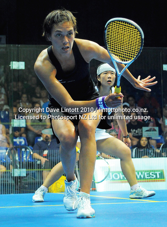 Shelley Kitchen (NZ, left) v Sharon Wee Ee Lin (Malaysia). Women's World Squash Teams third-fourth place playoff at International Pacific College Rec Centre, Palmerston North, New Zealand on Saturday, 4 December 2010. Photo: Dave Lintott / photosport.co.nz
