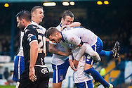 Danny Mayor of Bury is lifted by team mates after scoring his sides second goal during the FA Cup match at Gigg Lane, Bury<br /> Picture by Matt Wilkinson/Focus Images Ltd 07814 960751<br /> 07/11/2015