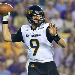 Oct 15, 2016; Baton Rouge, LA, USA;  Southern Miss Golden Eagles quarterback Nick Mullens (9) against the LSU Tigers during the first quarter of a game at Tiger Stadium. Mandatory Credit: Derick E. Hingle-USA TODAY Sports