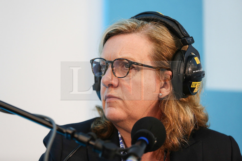 © Licensed to London News Pictures. 11/05/2016. Stoneleigh, UK. Charlotte Smith, Presenter of BBC Radio 4's Farming Today and BBC 1's Countryfile, at a debate about the upcoming EU referendum during the 2016 Pig and Poultry Fair at Stoneleigh, Warwickshire, UK. A recent survey carried out by Farmers Weekly magazine revealed that 58 percent of farmers are in favour whereas only 31 percent said they wanted to remain. The debate was put on by the BBC Radio Four's Farming Today programme and will be broadcast later this month. Photo credit : Ian Hinchliffe/LNP