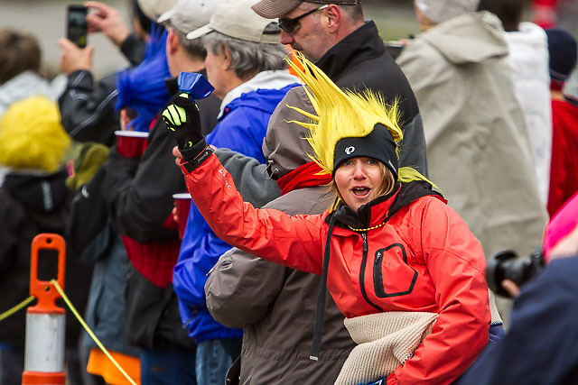 race fan dresses up to cheer on runners