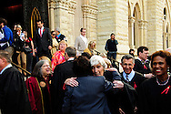 "Retired Illinois Supreme Court Chief Justice Mary Ann G. McMorrow greets church attendees following the 78th Annual Votive Mass of the Holy Spirit, or ""Red Mass"" at Holy Name Cathedral in Chicago. September 30, 2012 l Brian J. Morowczynski~ViaPhotos..For use in a single edition of Catholic New World Publications, Archdiocese of Chicago. Further use and/or distribution may be negotiated separately. Contact ViaPhotos at 708-602-0449 or email brian@viaphotos.com."