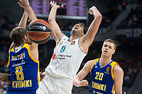 Real Madrid Felipe Reyes and Khimki Moscow Egor Vialtsev and Andrey Zubkov during Turkish Airlines Euroleague match between Real Madrid and Khimki Moscow at Wizink Center in Madrid, Spain. November 02, 2017. (ALTERPHOTOS/Borja B.Hojas)