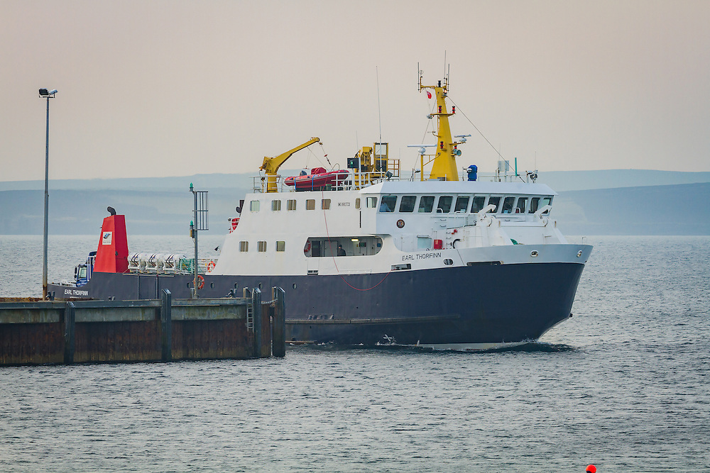 Orkney Ferries vessel the Earl Thorfinn arriving at port on the remote isle of Sanday, Orkney Isles.