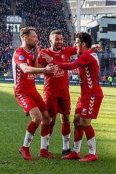 11-03-2018 NED: FC Utrecht - Vitesse, Utrecht<br /> Utrecht verslaat met 5-1 Vitesse / Sander van der Streek #22 of FC Utrecht scoort de 3-1 en viert dat met Zakaria Labyad #10 of FC Utrecht, Yassin Ayoub #8 of FC Utrecht