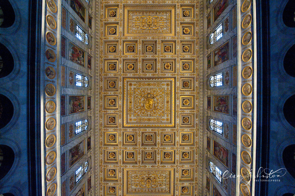 "The Papal Basilica of St Paul Outside the Walls ""Basilica Papale di San Paolo fuori le Mura"" is one of four churches that are the great ancient major basilicas or papal basilicas of Rome.  The basilica was founded by the Roman Emperor Constantine I over the burial place of Saint Paul, where it was said that, after the Apostle's execution, his followers erected a memorial, called a cella memoriae. After a fire in 1823 this mosaic facade of the Basilica was the only piece of architecture to survive.  The Basilica was re-created in exact replica in 1840."