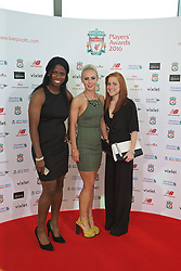 LIVERPOOL, ENGLAND - Thursday, May 12, 2016: Liverpool Ladies' Satara Murray, Alex Greenwood and Martha Harris arrive on the red carpet for the Liverpool FC Players' Awards Dinner 2016 at the Liverpool Arena. (Pic by David Rawcliffe/Propaganda)