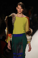 Sara Blomqvist walks the runway wearing BCBG MAXAZRIA Fall 2012 during Mercedes-Benz Fashion Week in New York City,  on February 9th, 2012