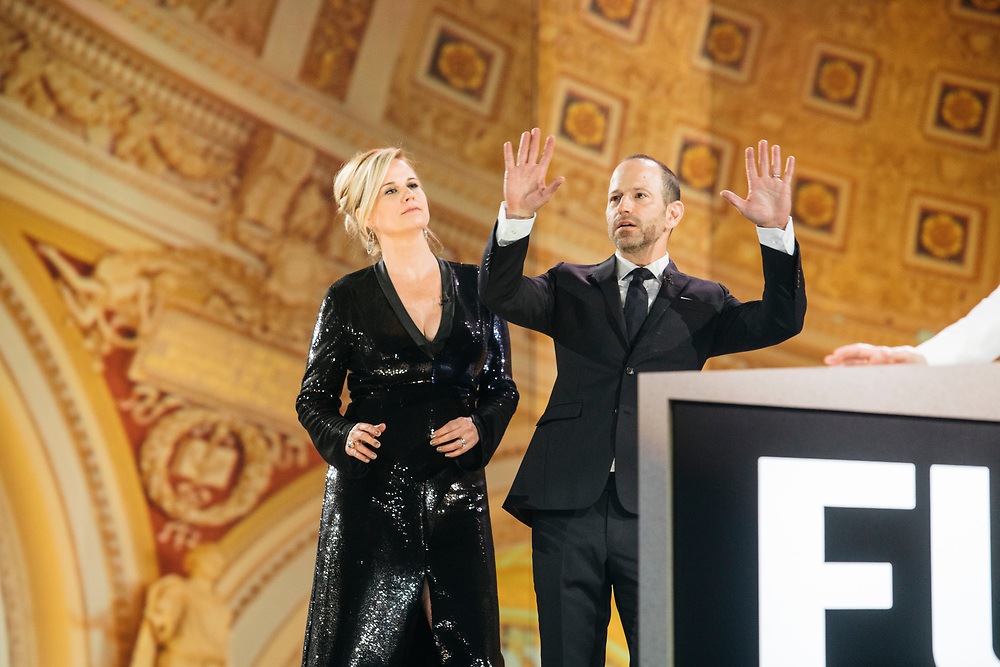 Allana Harkin and Mike Rubens dance while waiting for their segment during rehearsals for Full Frontal with Samantha Bee's Not the White House Correspondents' Dinner at D.A.R. Constitution Hall in Washington D.C. on April 28, 2017.