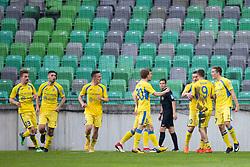 Players of NK Domzale celebrate goal during football match between NK Olimpija Ljubljana and NK Domzale in Round #27 of Prva Liga Telekom Slovenije 2017/18, on April 14, 2018 in SRC Stozice, Ljubljana, Slovenia. Photo by Urban Urbanc / Sportida