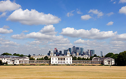 &copy; Licensed to London News Pictures. 01/08/2018<br /> Greenwich, UK. Burnt grounds and blue sky over Greenwich Park in London, as a heatwave is set to return to the UK. Photo credit: Grant Falvey/LNP