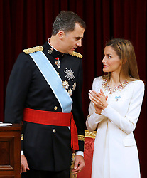 19.06.2014, Congreso de los Diputados, Madrid, ESP, Inthronisierung, König Felipe VI, im spanischen Abgeordnetenhaus, im Bild King Felipe VI of Spain and Queen Letizia of Spain // during the Enthronement ceremonies of King Felipe VI at the Congreso de los Diputados in Madrid, Spain on 2014/06/19. EXPA Pictures © 2014, PhotoCredit: EXPA/ Alterphotos/ EFE/Pool<br /> <br /> *****ATTENTION - OUT of ESP, SUI*****