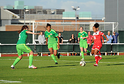 Bristol Academy's Jade Boho Sayo closes in on the Sunderland goal to level the score at Stoke Gifford Stadium - Mandatory by-line: Paul Knight/JMP - 25/07/2015 - SPORT - FOOTBALL - Bristol, England - Stoke Gifford Stadium - Bristol Academy Women v Sunderland AFC Ladies - FA Women's Super League