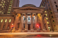 Picture of Place D'armes and Bank of Montreal building in Old Montreal taken at dusk in winter, Quebec, Canada