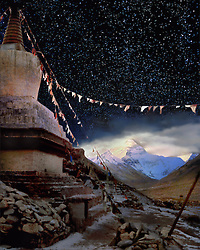 Galen Rowell iconic photograph of this chorten at Rongbuk Monastery helped launch awareness of Tibet's plight. It took me three trips over ten years to finally get this nighttime counterpart.