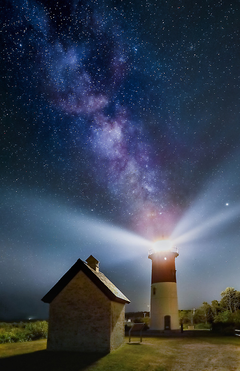 Nauset Light is one of the most iconic Cape Cod lighthouses. It is located in the town of Eastham, MA next to Nauset Beach and not far from Coastguard Beach along the National Seashore. Visiting Cape Cod and the Islands is always a lot of fun. I finally was able to head out to photograph Nauset Beach Lighthouse under a starry night and milky way. <br />