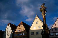 St. George's fountain in the town square, Rothenburg, Germany