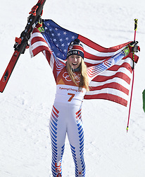 February 15, 2018 - Pyeongchang, South Korea - MIKAELA SHIFFRIN of the United States celebrates winning gold in the Womens Giant Slalom event Thursday, February 15, 2018 at the Yongpyang Alpine Center at the Pyeongchang Winter Olympic Games.  Photo by Mark Reis, ZUMA Press/The Gazette (Credit Image: © Mark Reis via ZUMA Wire)
