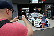 A young fan gets his photo taken with the car of Mark Winterbottom<br /> &amp; Dean Canto (Tickford Racing Ford). Supercheap Auto Bathurst 1000 -Virgin Australia Supercars Championship Round 13. Mount Panorama, Bathurst NSW on Wednesday 3 October 2018. Photo Clay Cross / photosport.nz