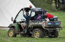 © Licensed to London News Pictures. 22/08/2017. London, UK. A vehicle takes away baggage at the Flamefest site near Tunbridge Wells in Kent where a man died and a woman was taken to hospital over the weekend. Over 200 people attended the adult sex festival with tickets costing £600 each. The incident  is currently being treated as unexplained. Photo credit: Peter Macdiarmid/LNP