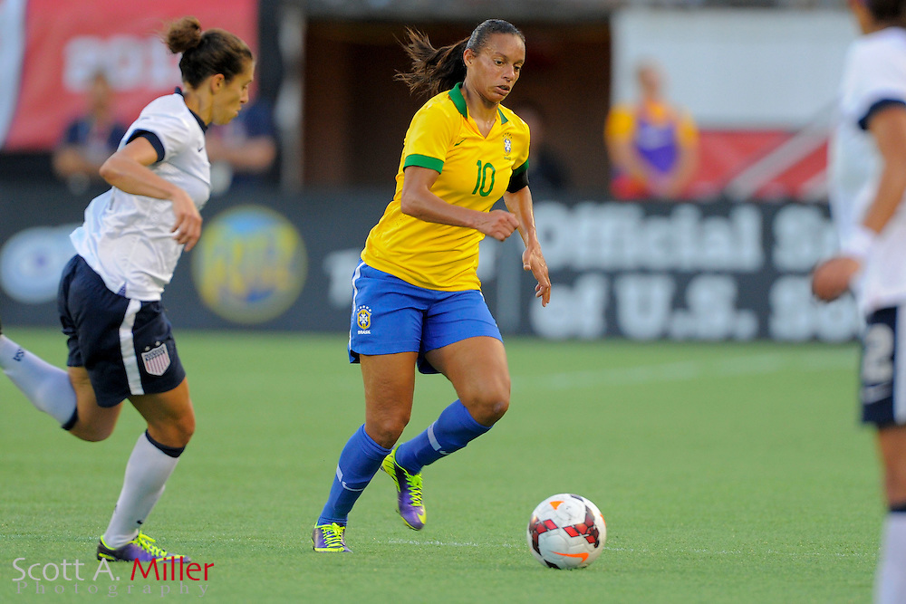 Brazil midfielder Rosana (10) in action during the United States' 4-1 win over Brazil in an international friendly at the Florida Citrus Bowl on Nov. 10, 2013 in Orlando, Florida. <br /> <br /> &copy;2013 Scott A. Miller