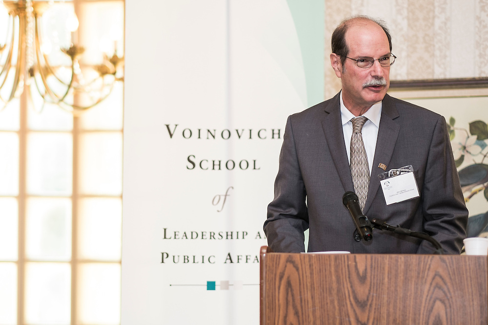 Mark Weinberg, founding dean of the Voinovich School, addresses attendees at the Ohio University State Government Alumni Luncheon on Tuesday, May 5, 2015.  Photo by Ohio University  /  Rob Hardin